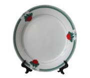 Rim Plate with Green Strawberry